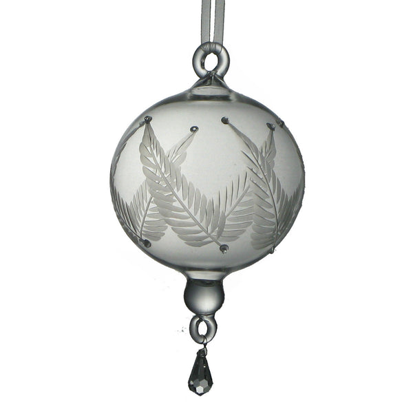 NA144  Glass Ornament with Etched Leaves Med. - Golden Hill Studio