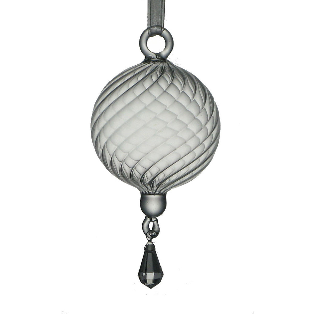 NA73  Ribbed Glass Ornament/Crystal Drop - Golden Hill Studio