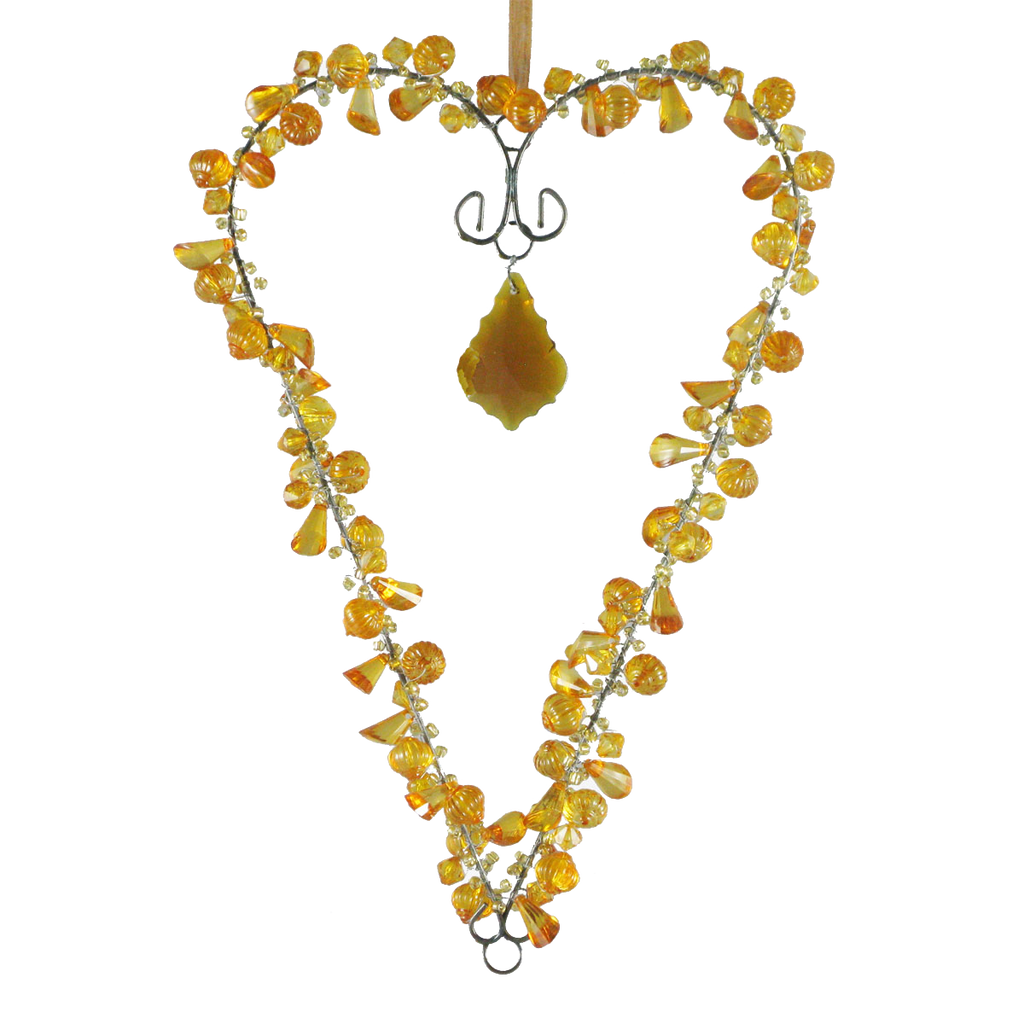 Beaded Heart with Crystal Amber - Golden Hill Studio
