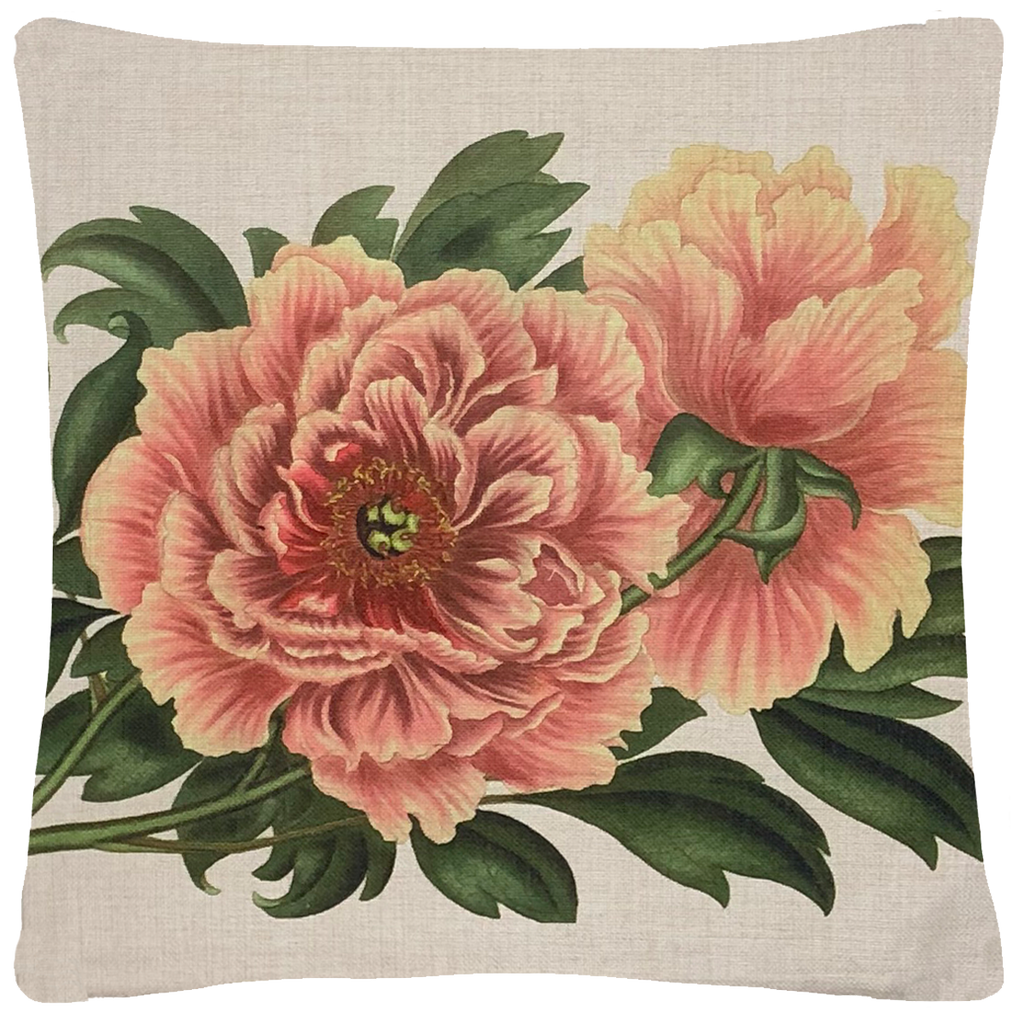 "Polynesian Peony Pillow  18"" x 18"" - Golden Hill Studio"