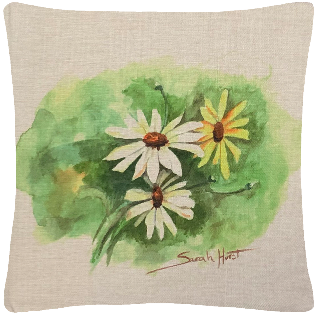 "Daisy Throw Pillow  18""x18"" - Golden Hill Studio"