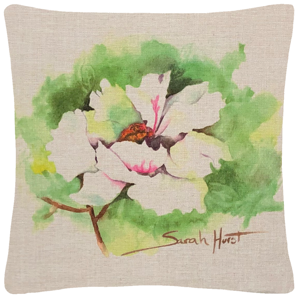 "Polynesian White Peony Throw Pillow  18""x18"" - Golden Hill Studio"