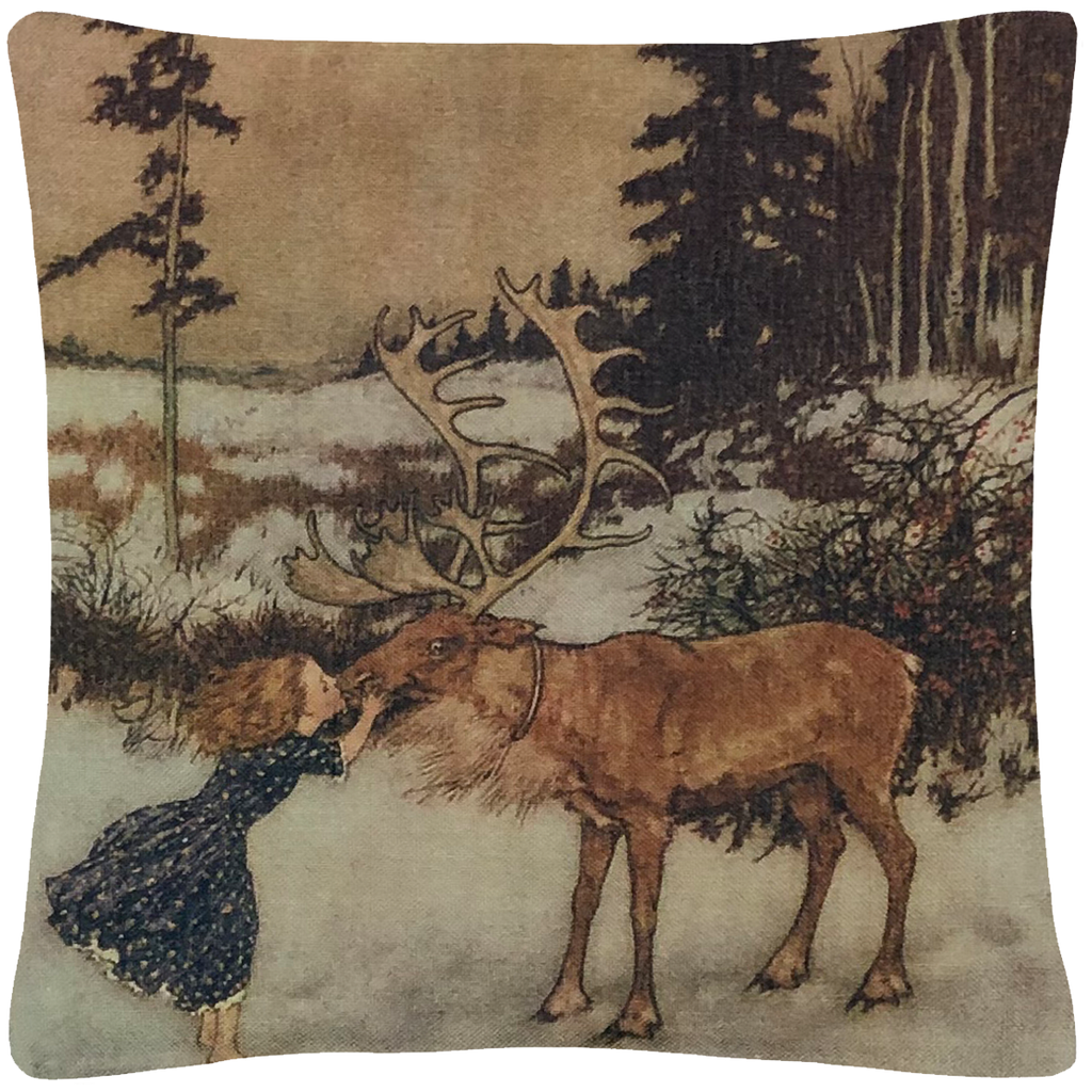 "Gerta & the Reindeer  18"" x 18"" - Golden Hill Studio"