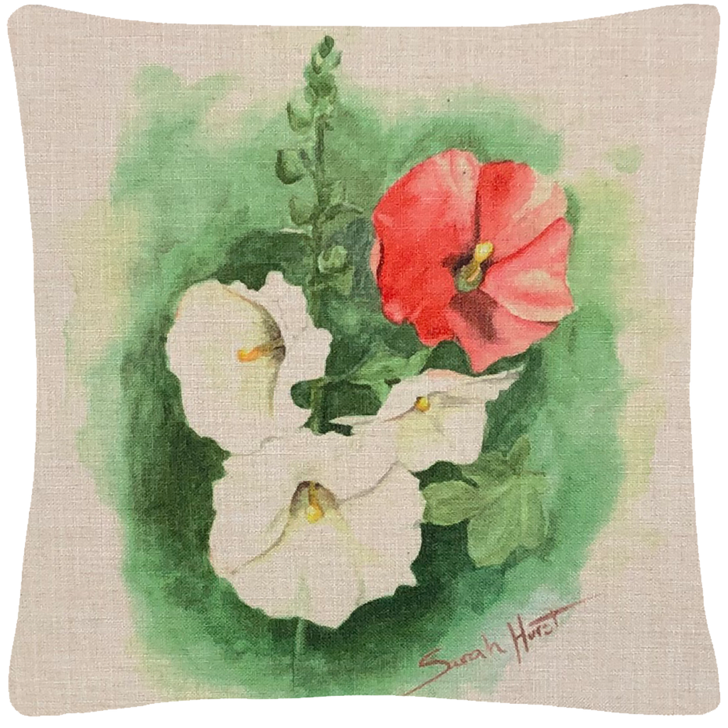 "Hollyhock Throw Pillow  18""x18"" - Golden Hill Studio"