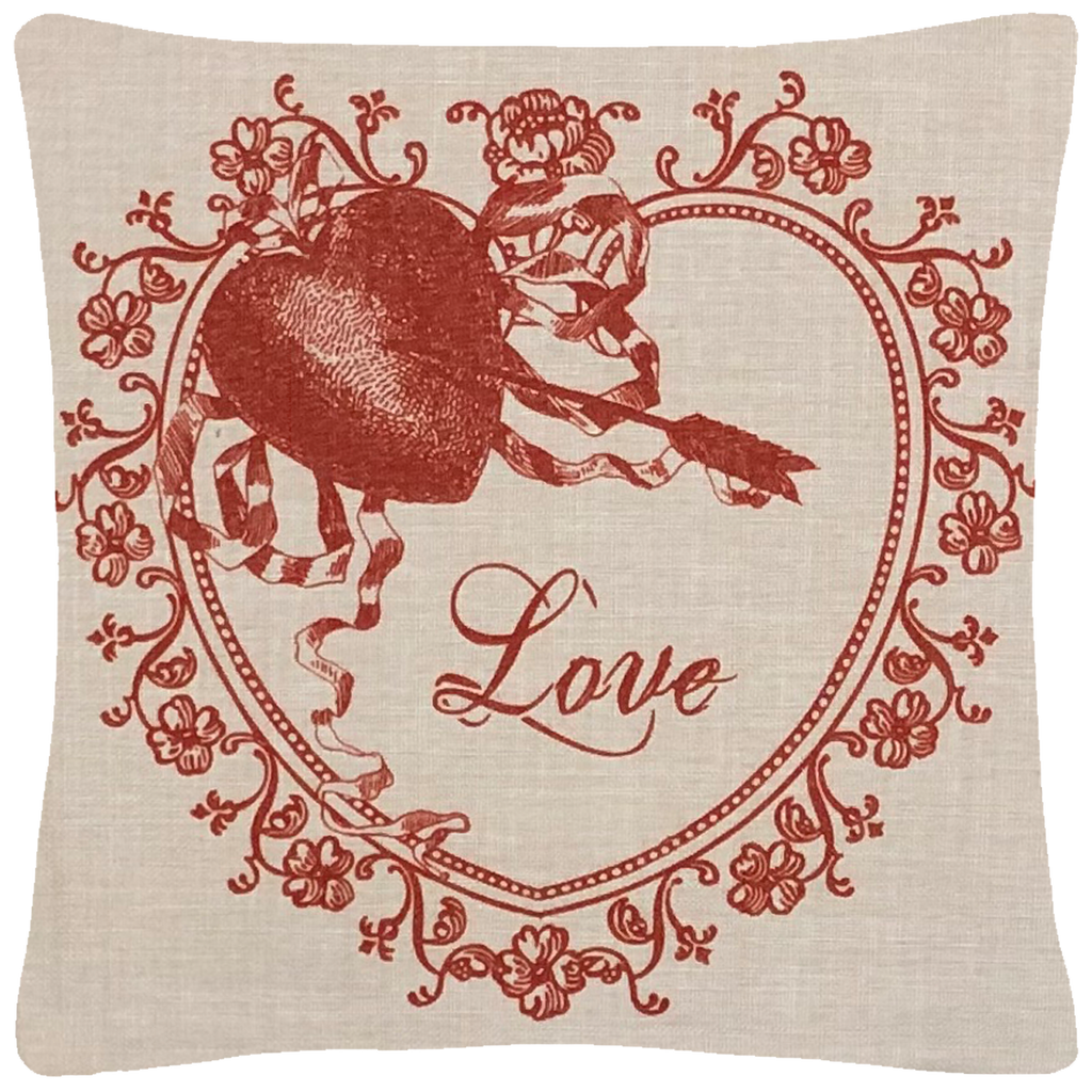 "Valentine Love Throw Pillow  14"" x 14"" - Golden Hill Studio"