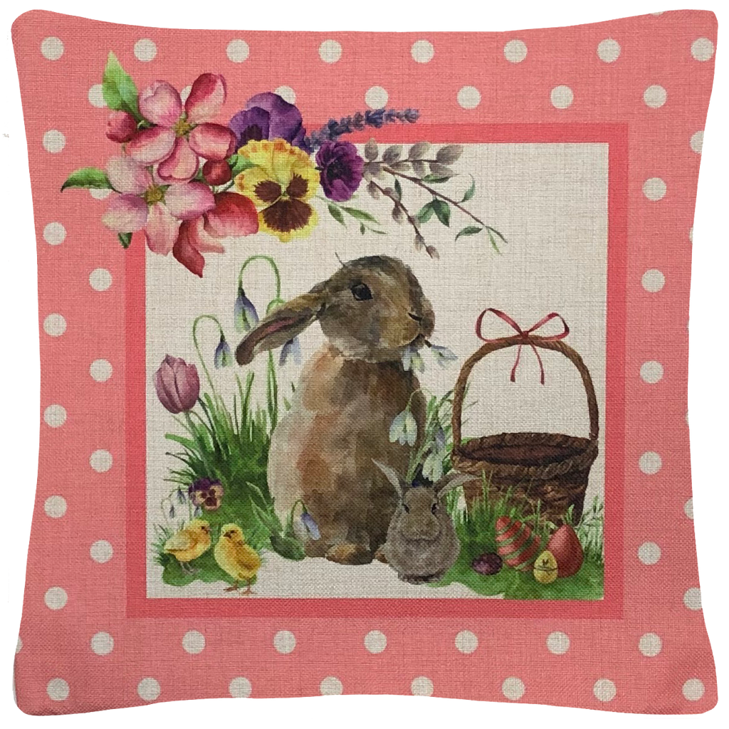 "Easter Bunny Throw Pillow  18""x18"" - Golden Hill Studio"