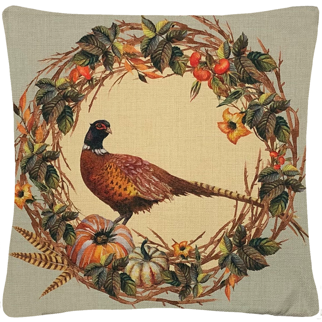 "Pheasant Wreath Throw Pillow  18""x18"" - Golden Hill Studio"