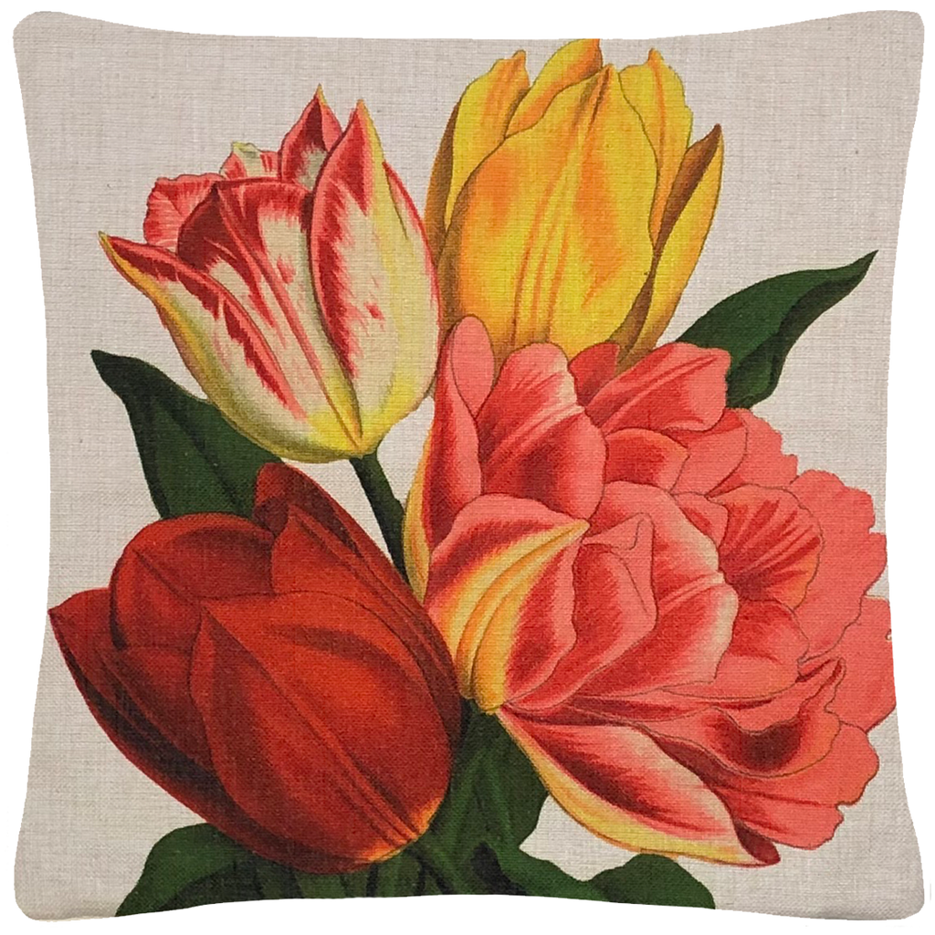 "Tulips Pillow 18"" x 18"" - Golden Hill Studio"