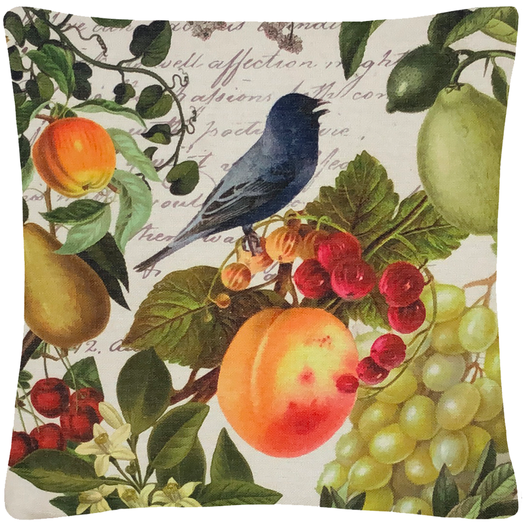 "Blue Bird and Fruit Pillow 18"" x 18"" - Golden Hill Studio"