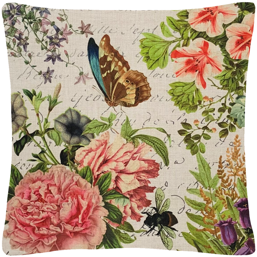 "Butterfly Floral Pillow 18"" x 18"" - Golden Hill Studio"
