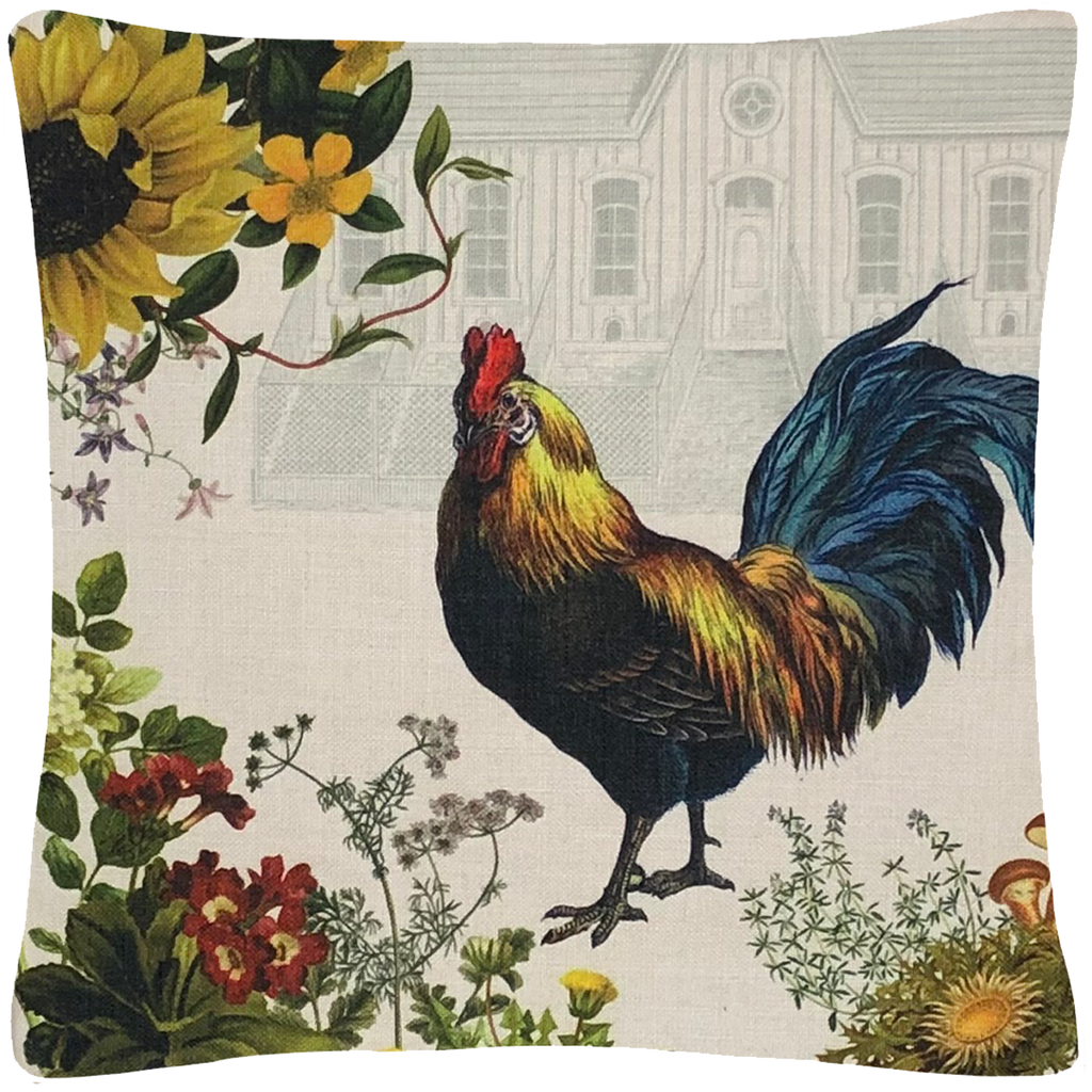 "Rooster and Henhouse Pillow 18"" x 18"" - Golden Hill Studio"