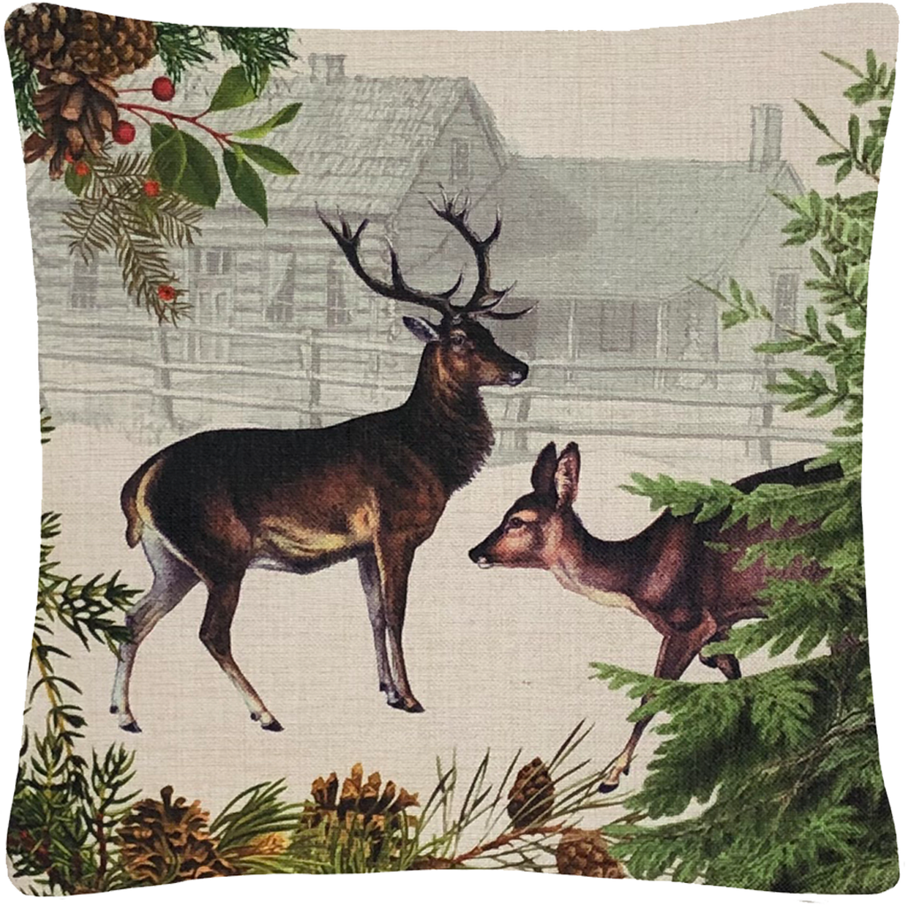 "Deer and Doe Pillow 18"" x 18"" - Golden Hill Studio"