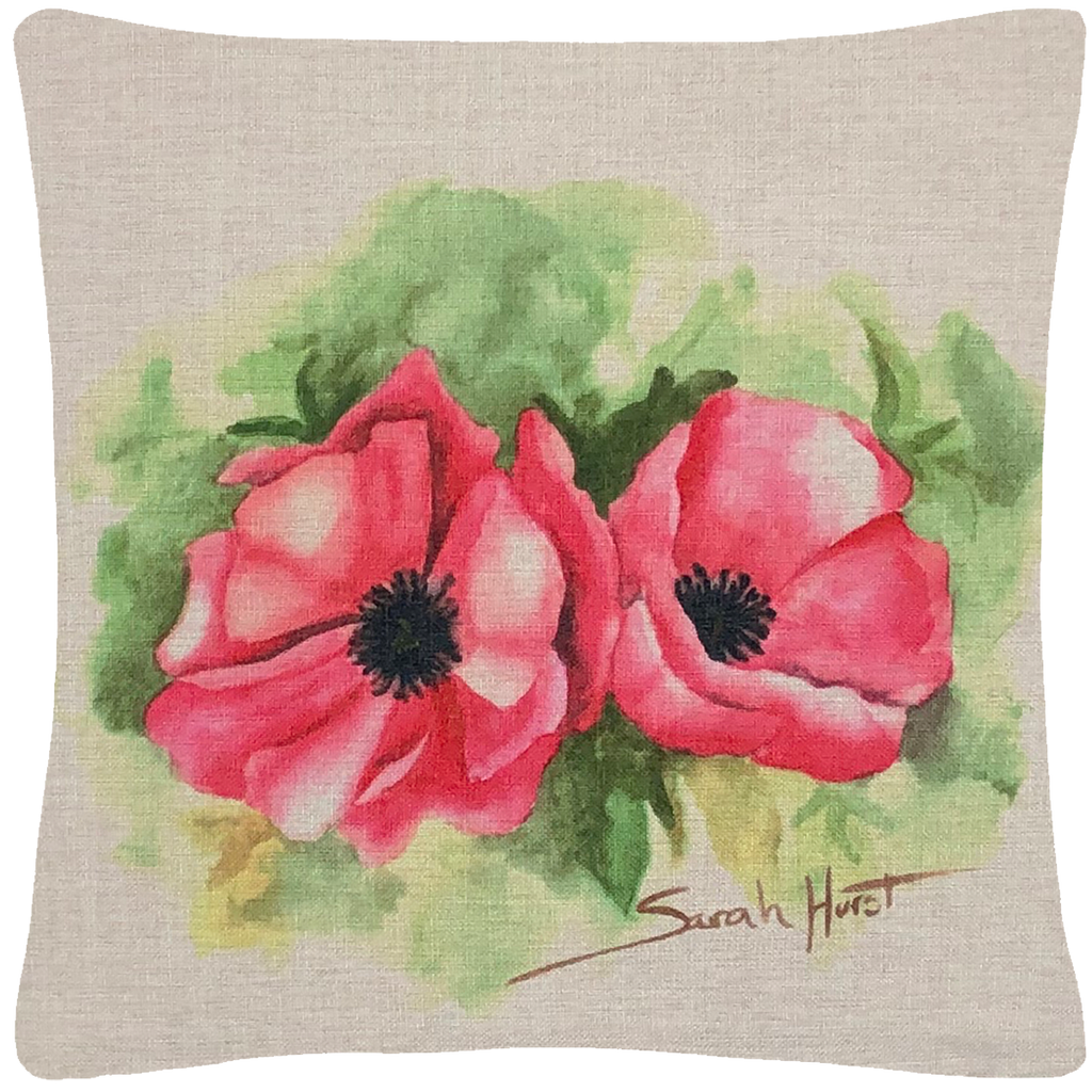 "Oriental Pink Poppy Throw Pillow  18""x18"" - Golden Hill Studio"