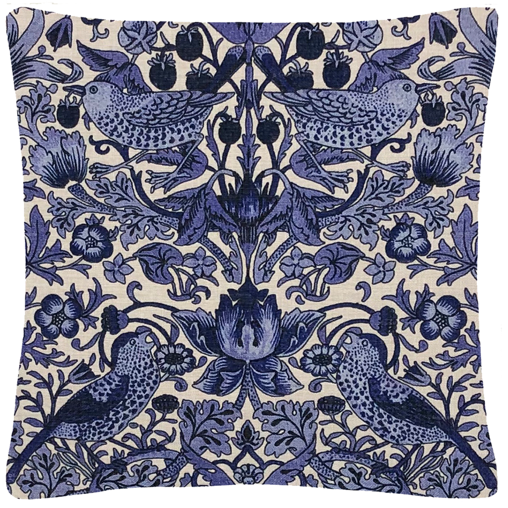 "Blue & White Floral William Morris Pillow 18"" x 18"" - Golden Hill Studio"