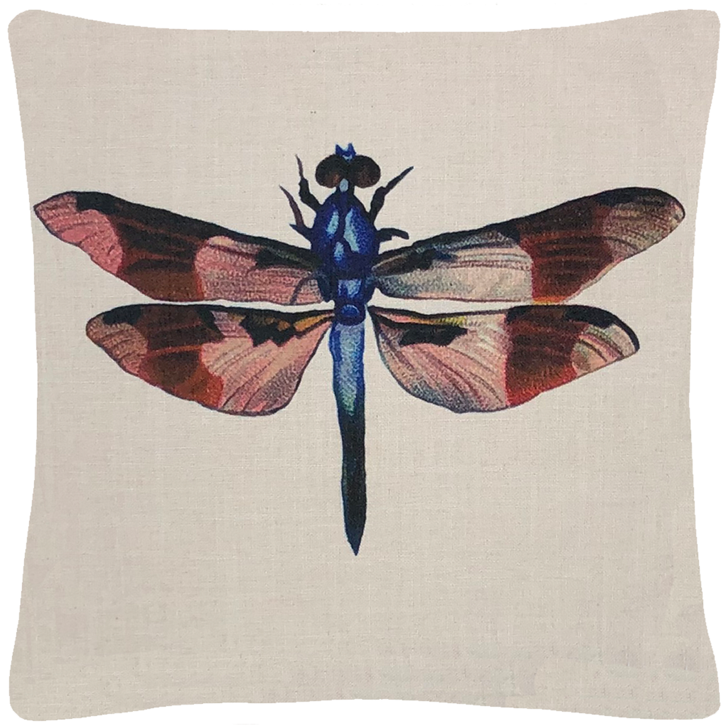"Dragonfly Pillow 18"" x 18"" - Golden Hill Studio"