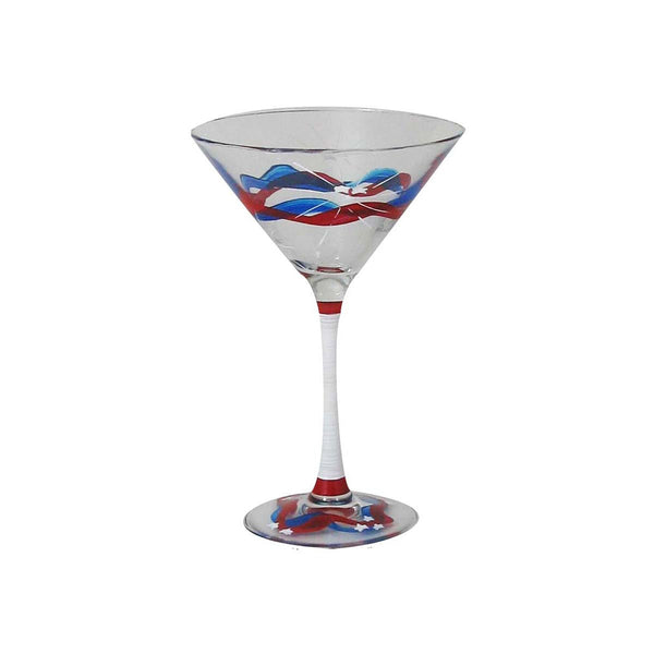 4th of July Bunting Martini Glass Patriotic Collection Set 2 - Golden Hill Studio