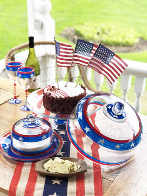 Stars & Stripes Cheese Dome/Plate Patriotic Collection
