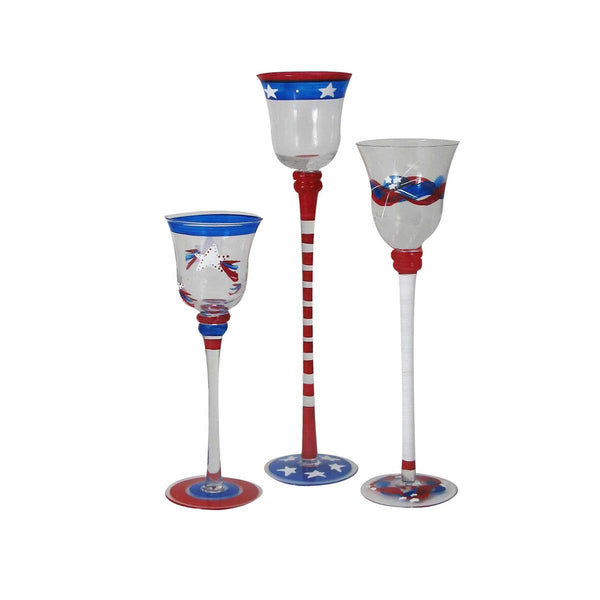 Stars & Stripes Candlestick Holder S/3 Patriotic Collection