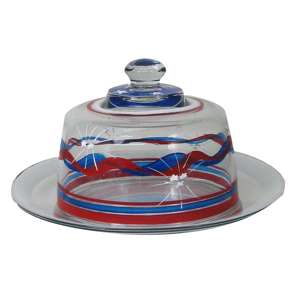 4th of July Bunting Cheese Dome/Plate Patriotic Collection - Golden Hill Studio