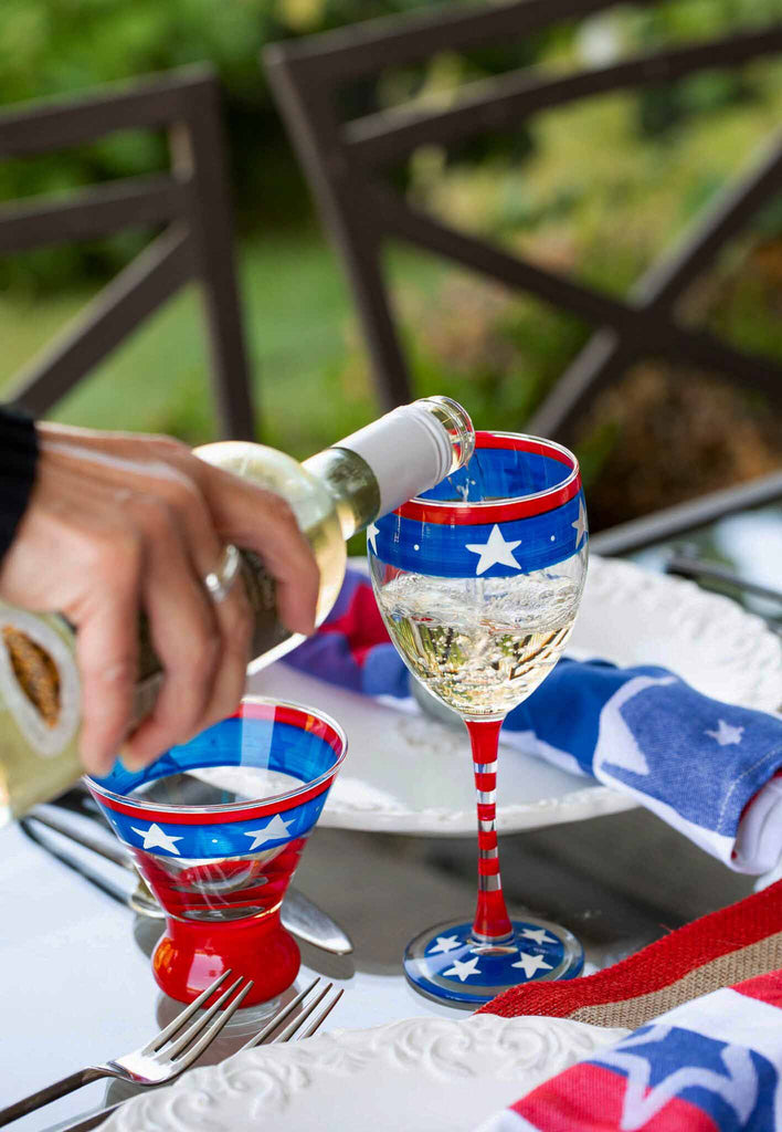 Stars & Stripes Cosmos Glass S/2 - Golden Hill Studio