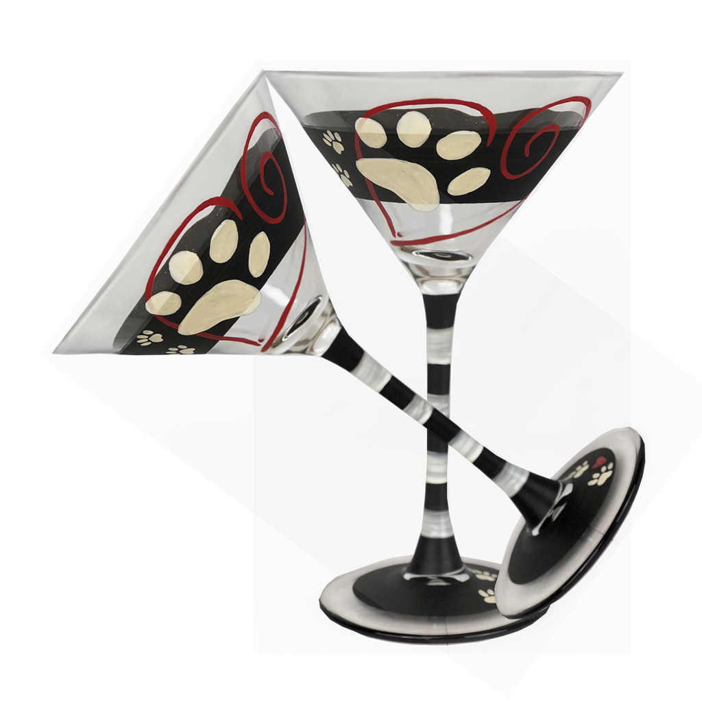 Warm Paws Martini  Set of 2 - Golden Hill Studio