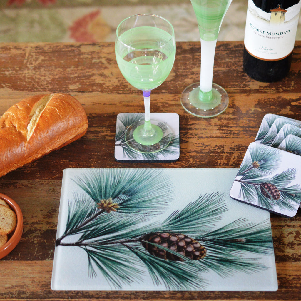 Pine Bough Cheese Tray/Cutting Board & Coaster Set - Golden Hill Studio