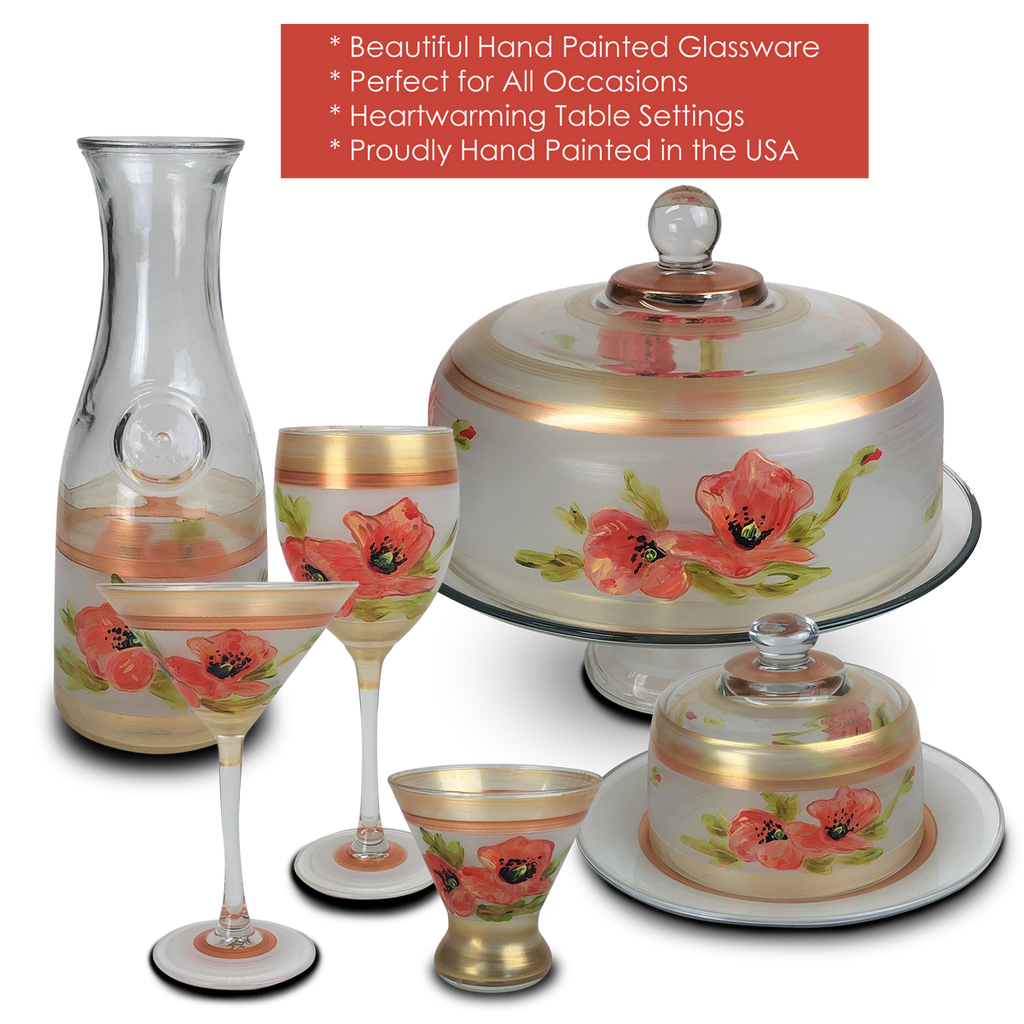 Oriental Poppy Floral Cosmopolitan   Set of 2 - Golden Hill Studio