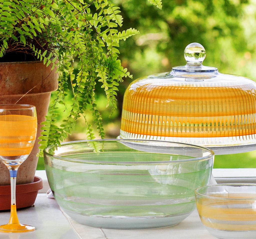 Cape Cod Cottage Stripe Orange Cake Dome - Golden Hill Studio
