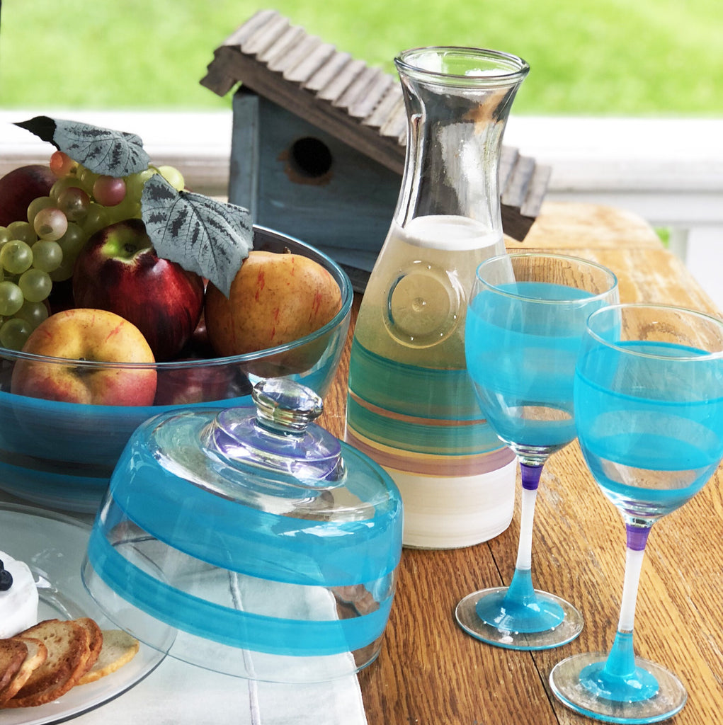 Cape Cod Cottage Stripe Turquoise Carafe - Golden Hill Studio