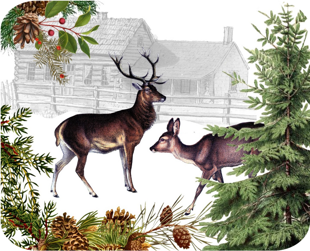 "Deer & Doe Botanical Hot Plate/Mouse Pad  9 1/2"" x 7 3/4"""
