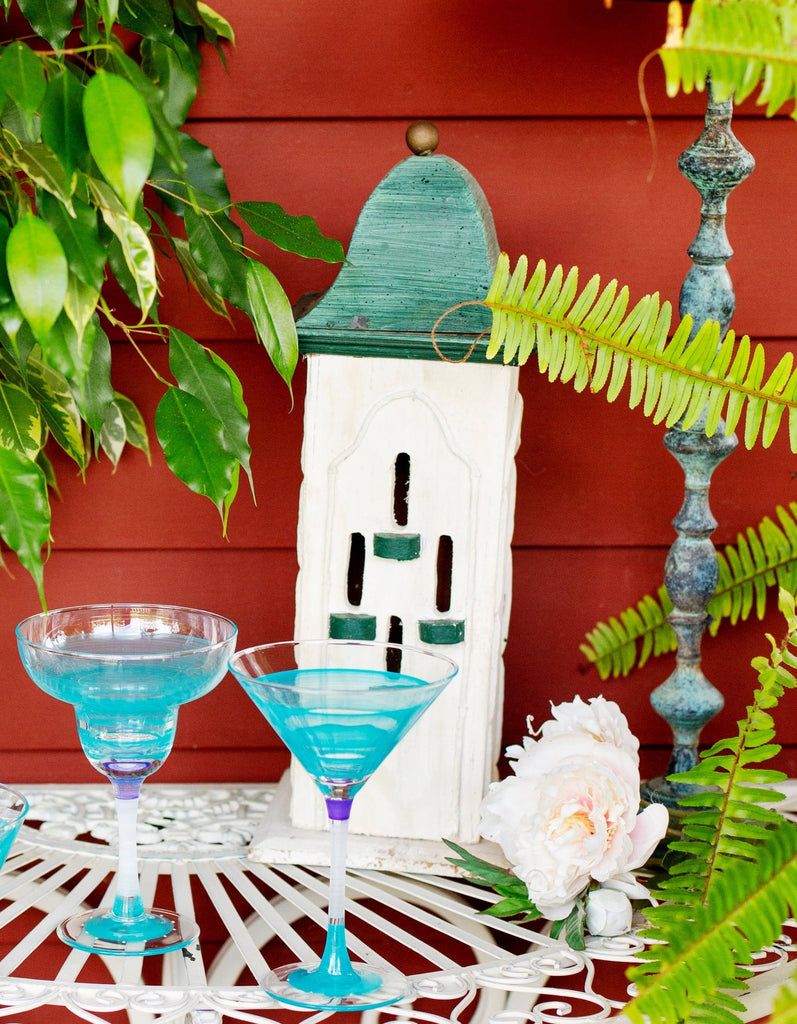 Cape Cod Cottage Stripe Turquoise Margarita   Set of 2 - Golden Hill Studio
