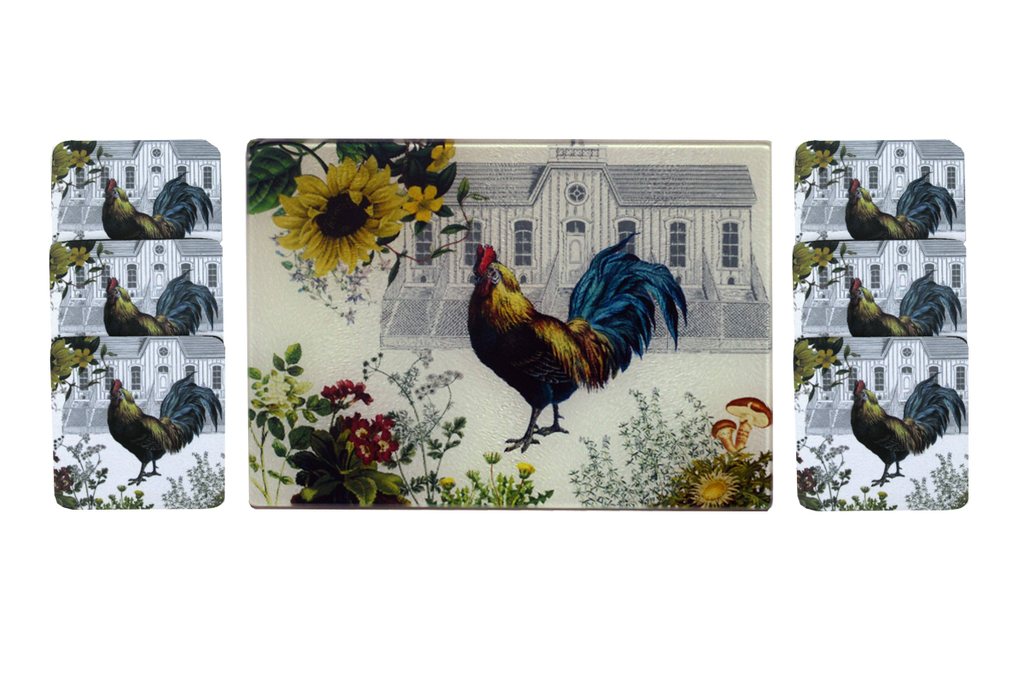 Rooster & Hen House Cheese Tray/Cutting Board & Coaster Set - Golden Hill Studio