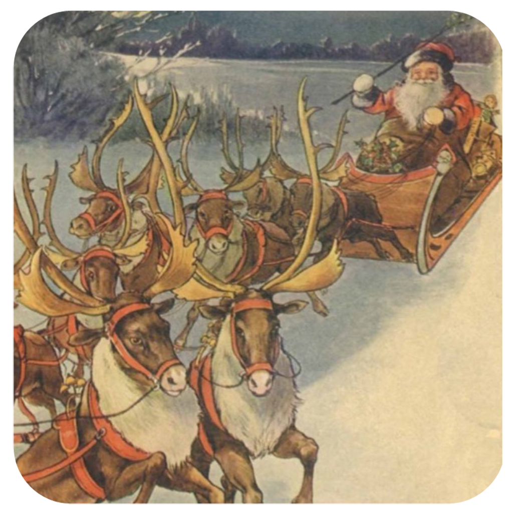 Santa & Reindeer Coaster S/6 - Golden Hill Studio