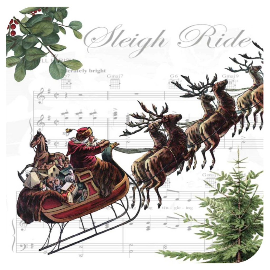 Santa & Sleigh Bells Coaster S/6 - Golden Hill Studio