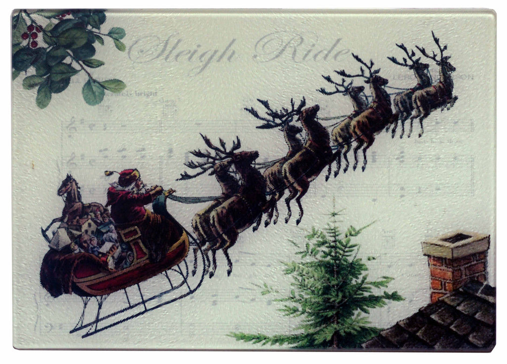 Santa & Sleigh Bells Cheese Tray/Cutting Board - Golden Hill Studio