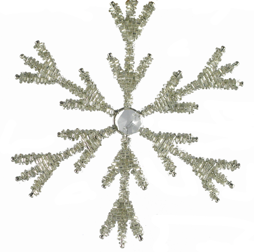 Small Snowflake with Center Crystal Set of 2
