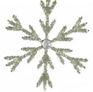Small Snowflake with Center Crystal Set of 2 - Golden Hill Studio