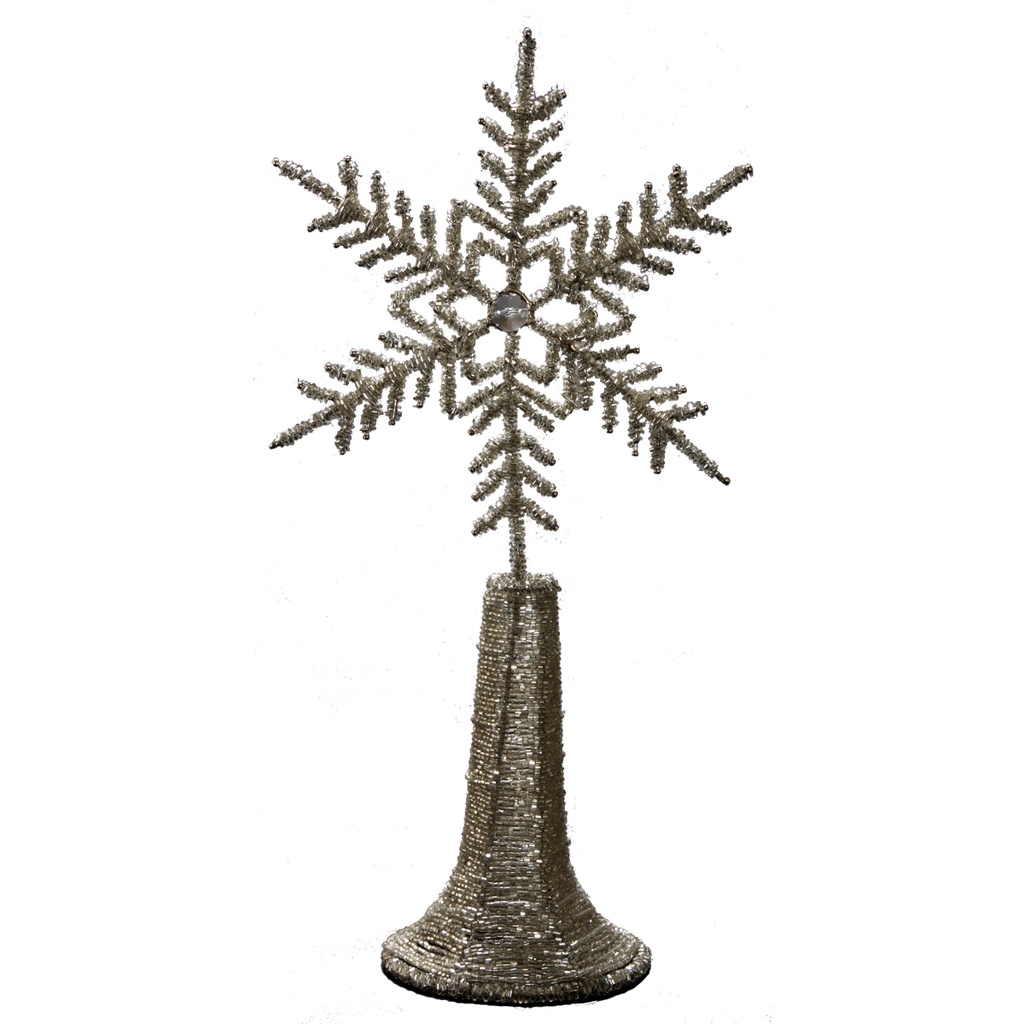 Beaded Snowflake Tree Topper - Golden Hill Studio