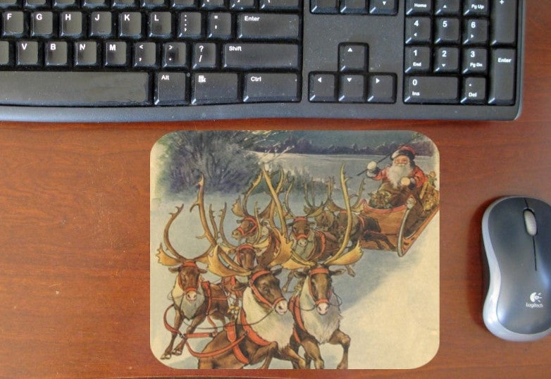 Santa with Reindeer Hot Pads/Mouse Pads - Golden Hill Studio