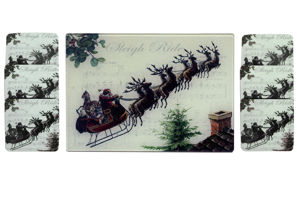 Santa & Sleigh Bells Cheese Tray/Cutting Board & Coaster Set - Golden Hill Studio