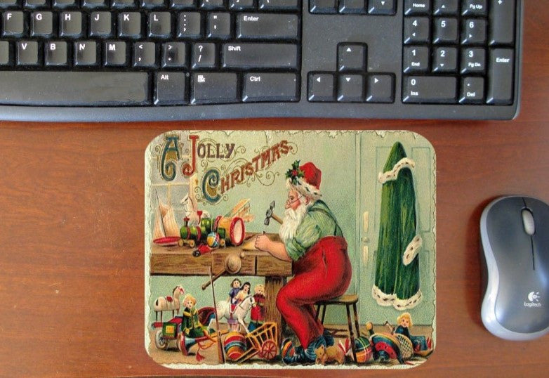 Santa in His Workshop Hot Pads/Mouse Pads - Golden Hill Studio