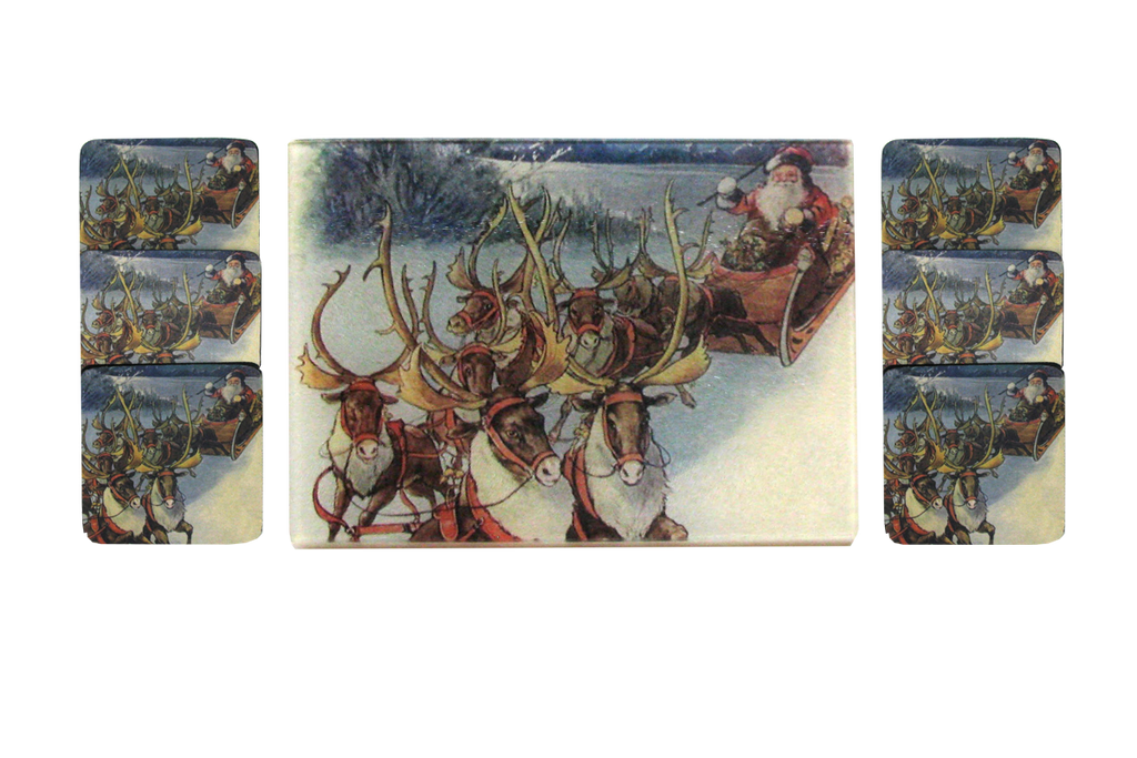 Santa & Reindeer Cheese Tray/Cutting Board & Coaster Set - Golden Hill Studio