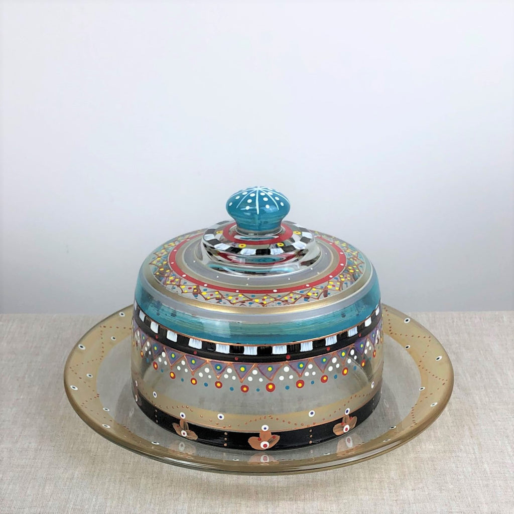 Moroccan Mosaic Carnival Cheese Dome - Golden Hill Studio