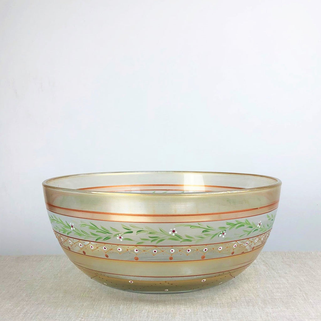 "Moroccan Mosaic Gold 11"" Bowl - Golden Hill Studio"