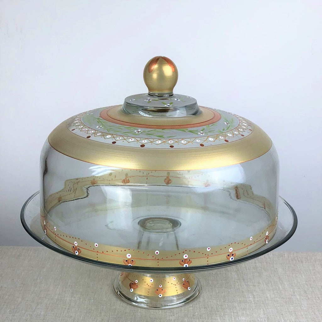 Moroccan Mosaic Gold Lg Cake Dome