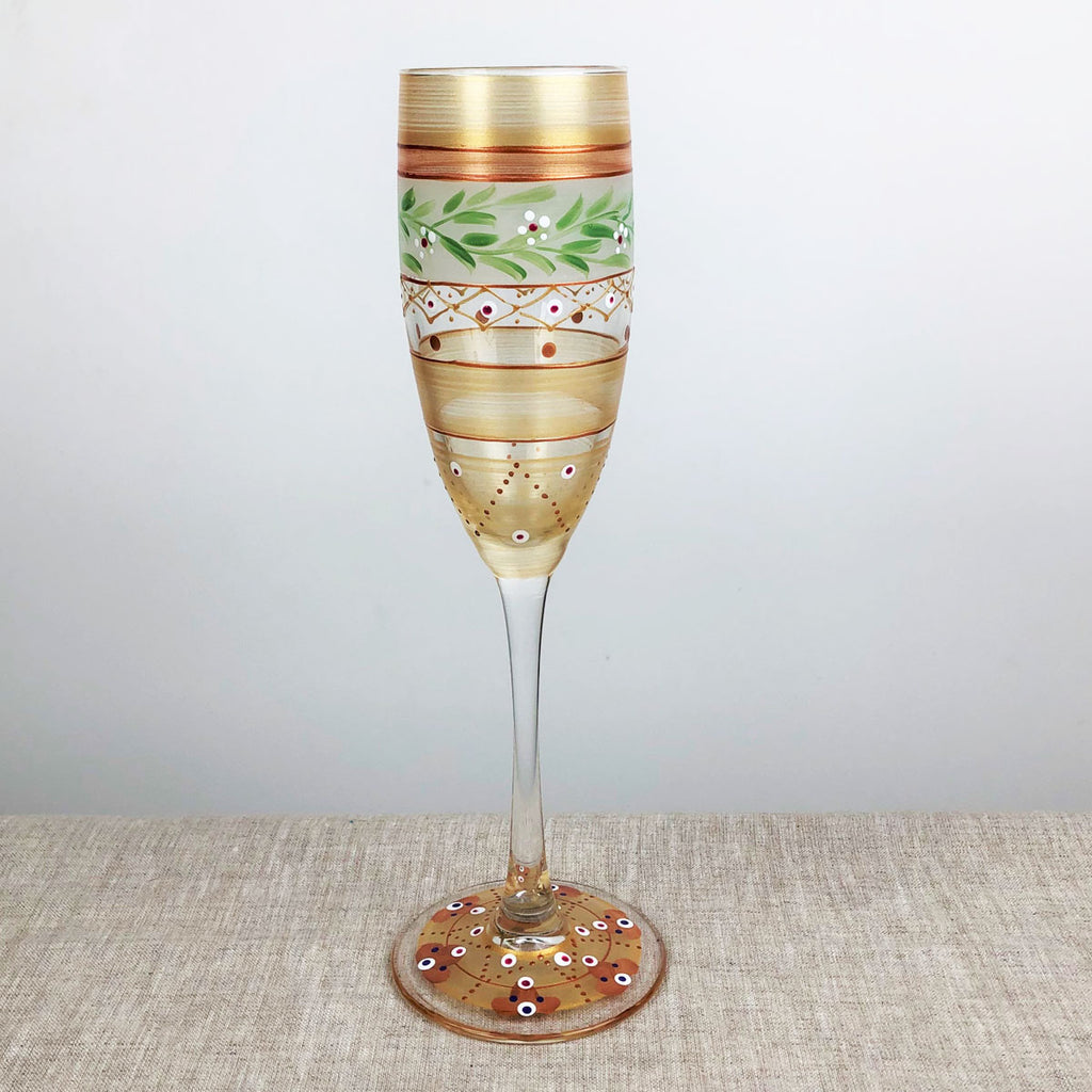Moroccan Mosaic Gold Champagne   Set of 2