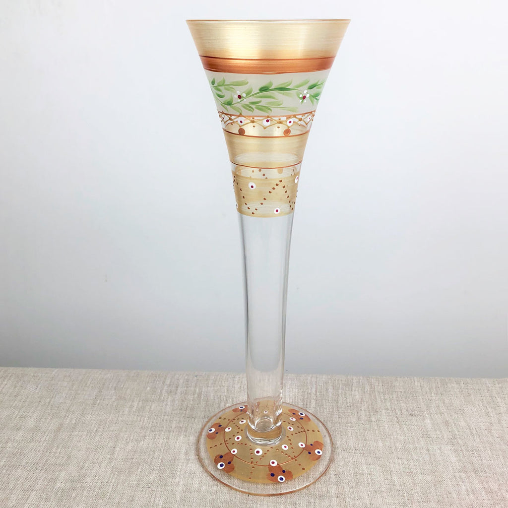 Moroccan Mosaic Gold Hollow Flutes   Set of 2