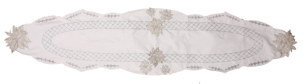 Silver Floral Silk Table Runner