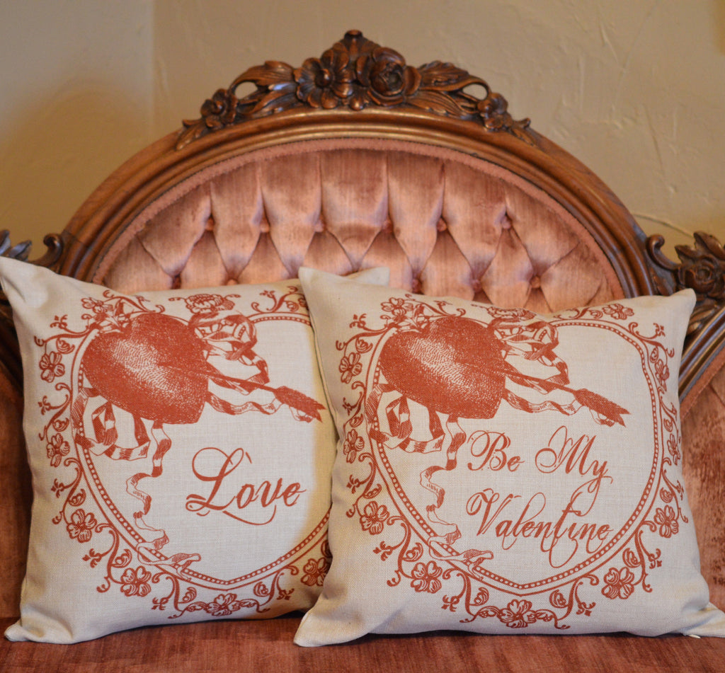 "Be My Valentine Throw Pillow  14"" x 14"" - Golden Hill Studio"