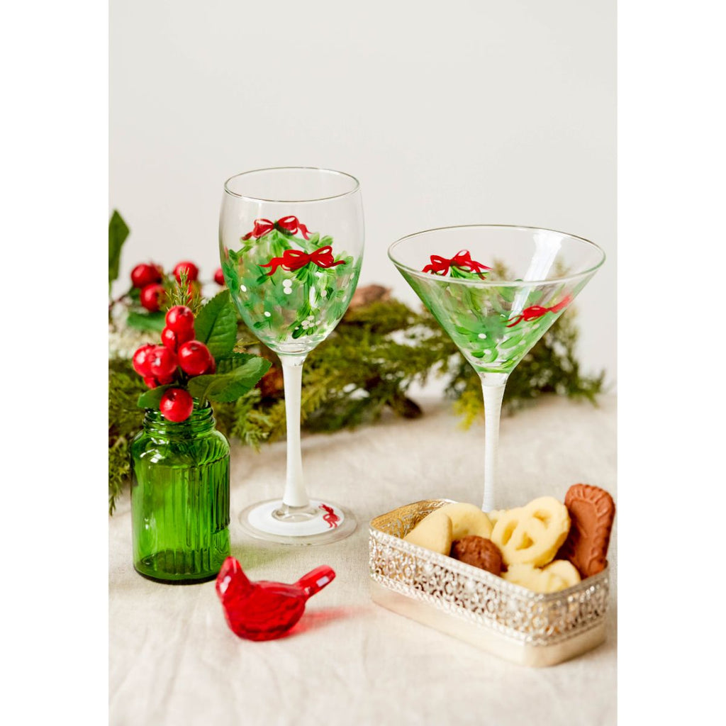 Mistletoe Love Martini S/2 - Golden Hill Studio
